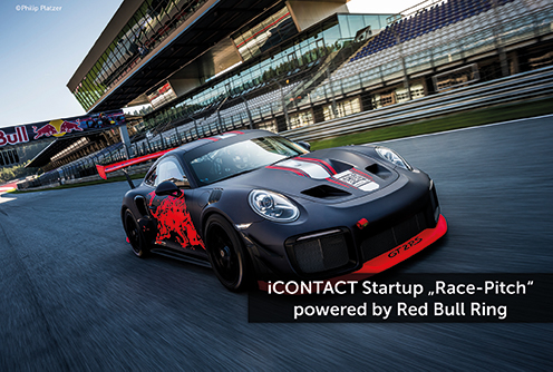"""STARTUPS WANTED: iCONTACT """"Race-Pitch"""" – powered by Red Bull Ring"""